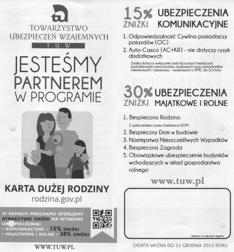 TUW jest partnerem programu Karta Dużej Rodziny