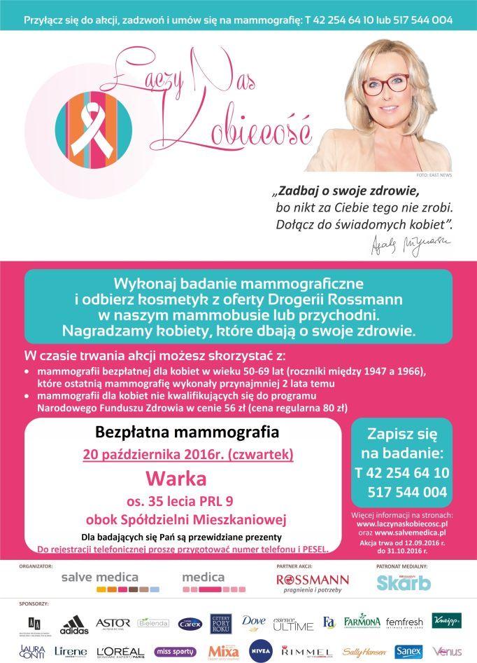 20 października 2016r. (czwartek) do Warki, ul. Osiedle 35-lecia PRL 9 obok Spółdzielni Mieszkaniowej od godz. 9:00  na bezpłatne badania mammograficzne dla kobiet w wieku 50 - 69 lat.